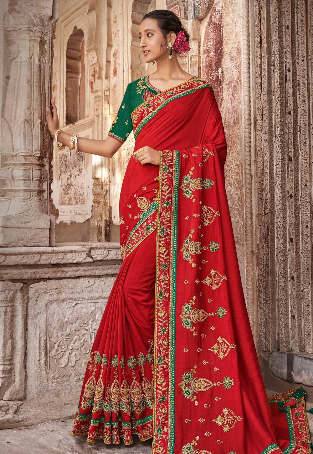 Red Silk Saree With Blouse 189673