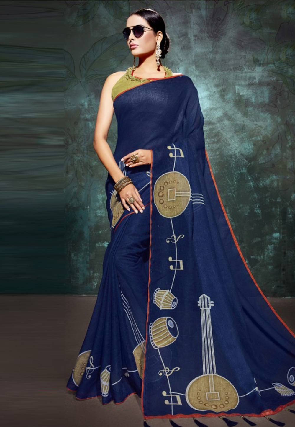 Navy Blue Linen Saree With Blouse 161441