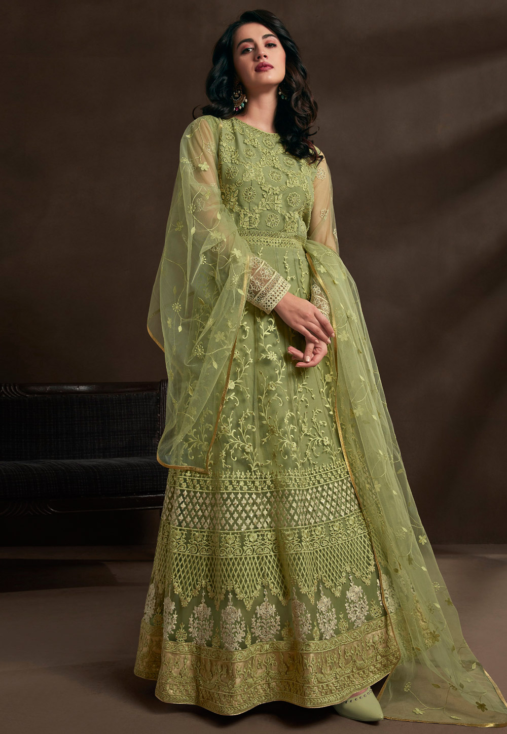 Light Green Net Embroidered Abaya Style Anarkali Suit 201585