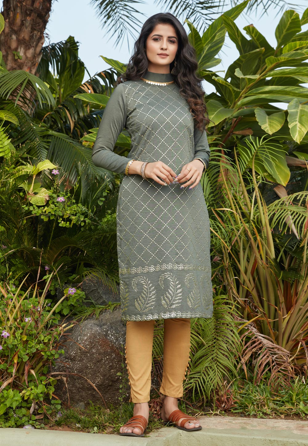 Olive Green Cotton Tunic 219250