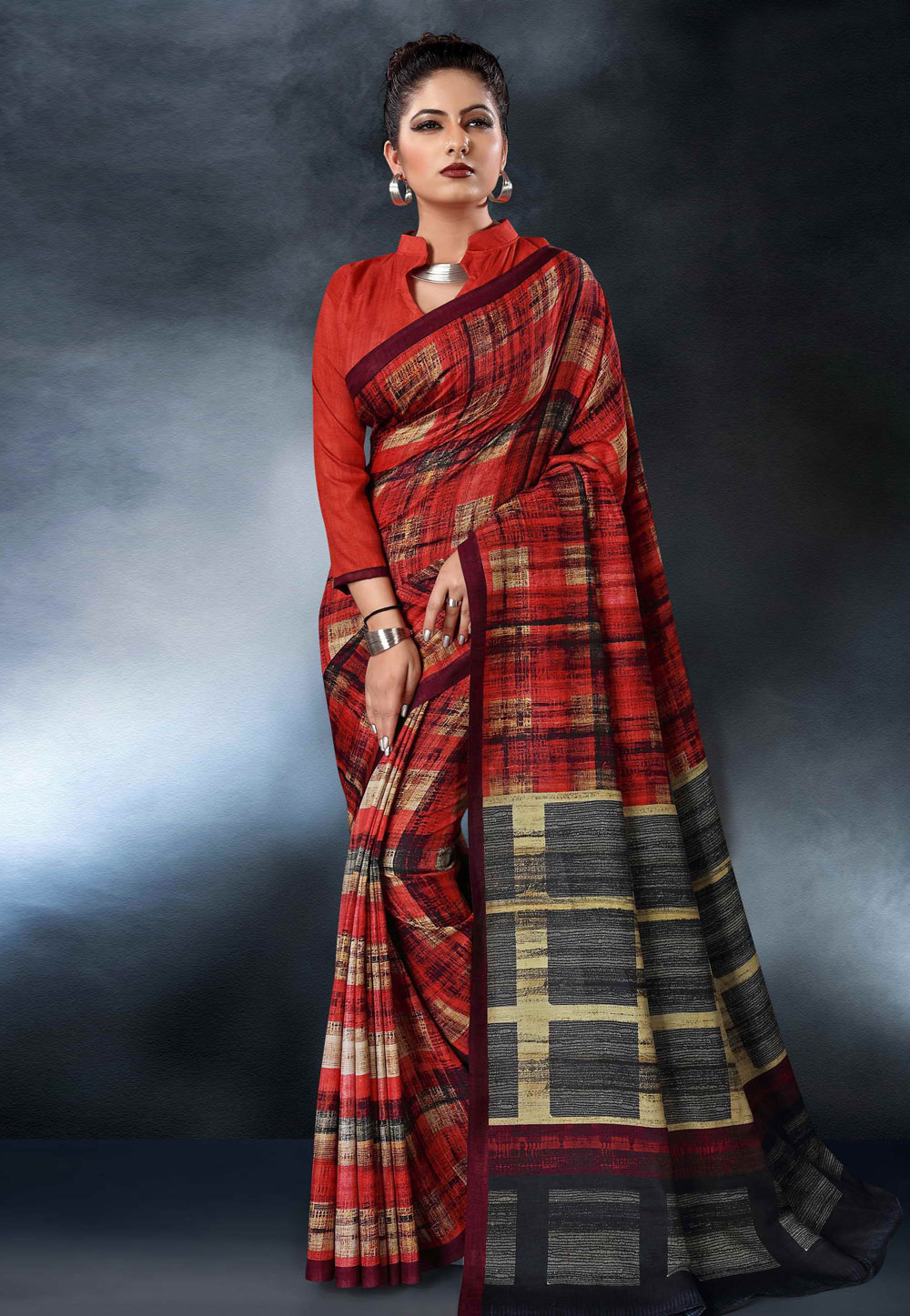 Red Tussar Silk Saree With Blouse 161848