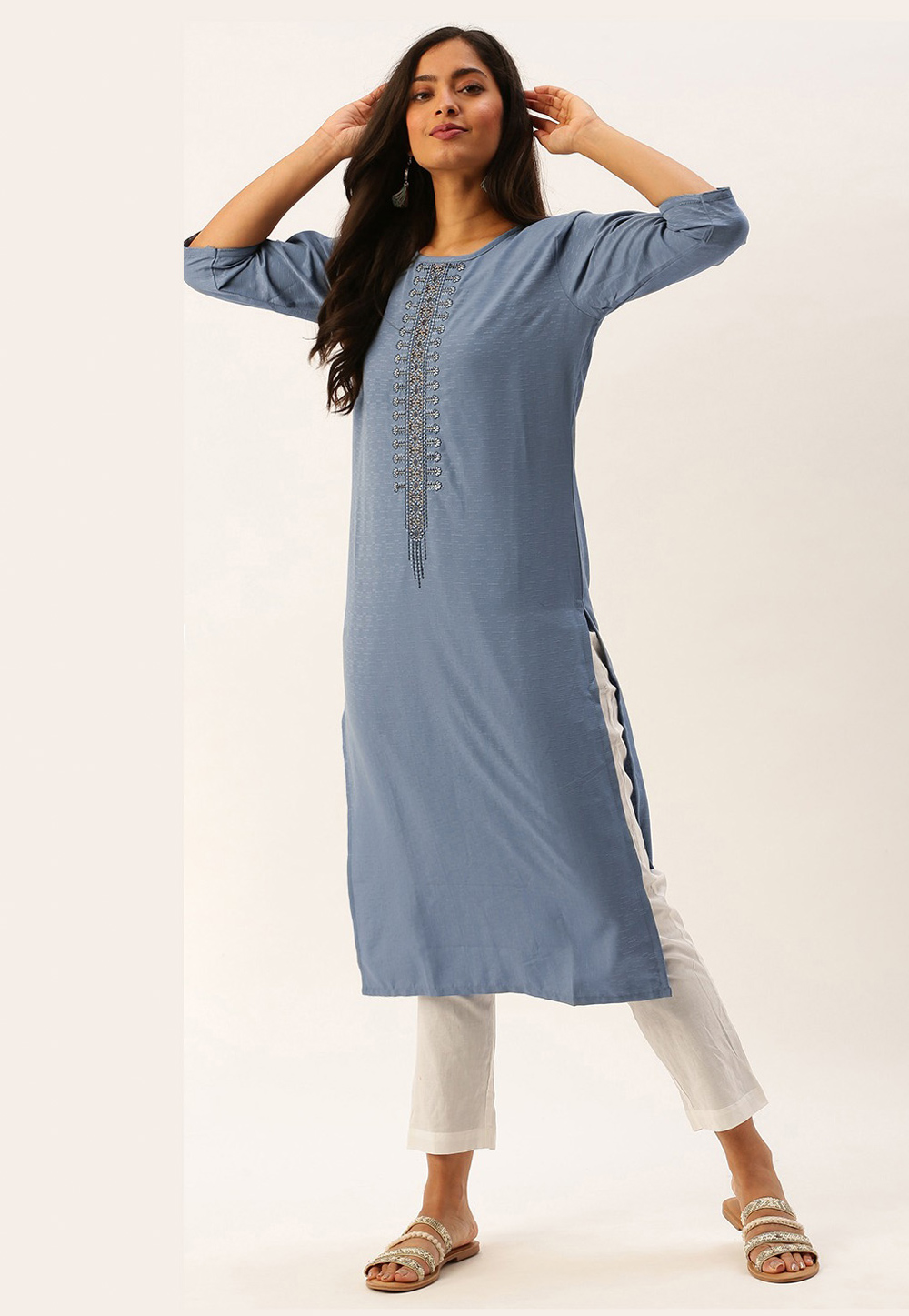 Light Blue Viscose Readymade Kurti 213486