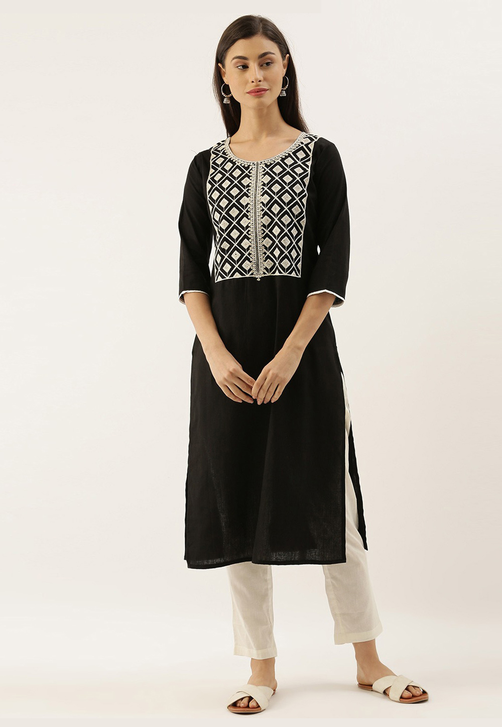 Black Cotton Readymade Tunic 213493