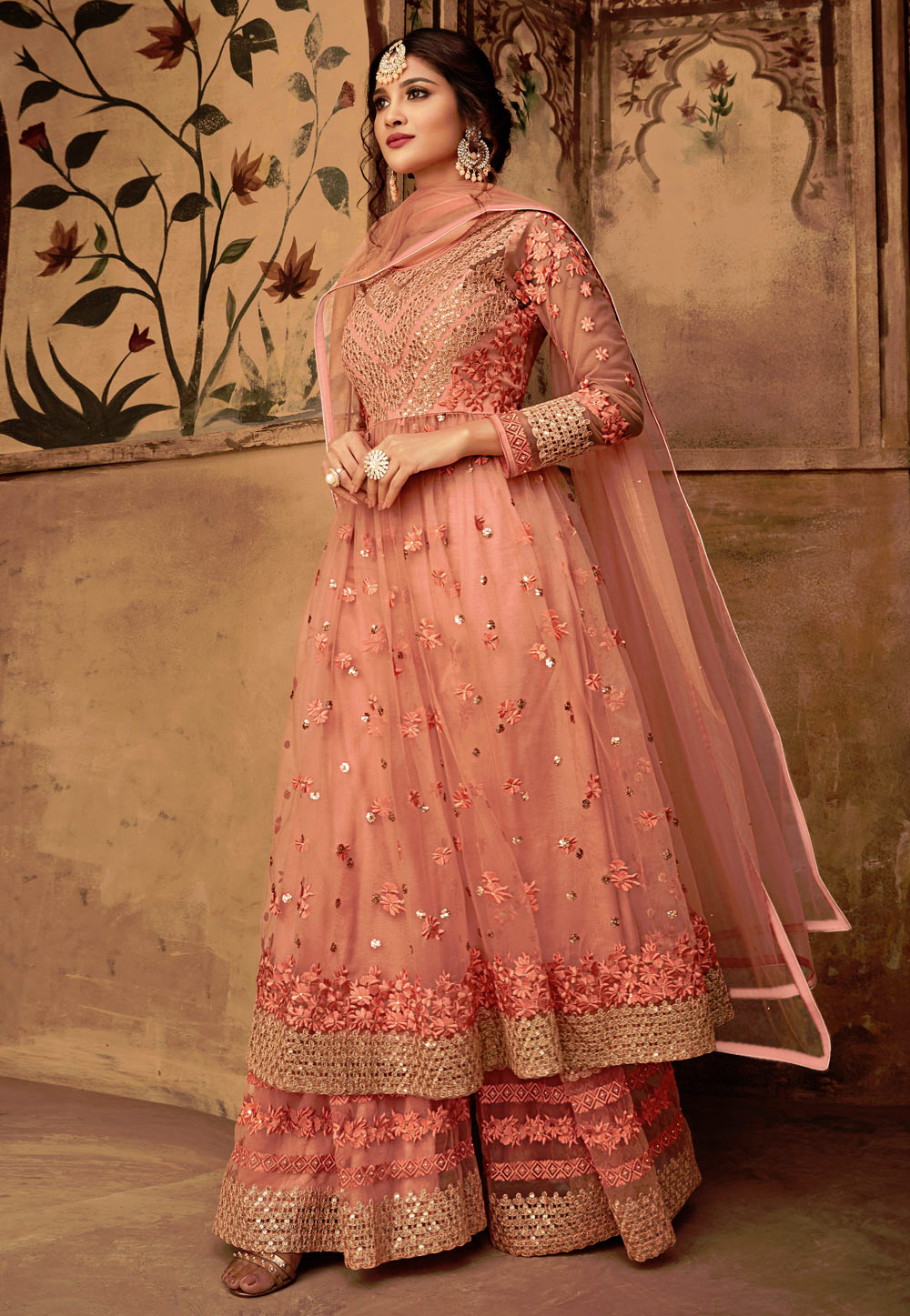 Peach Net Embroidered Sharara Suit 165571