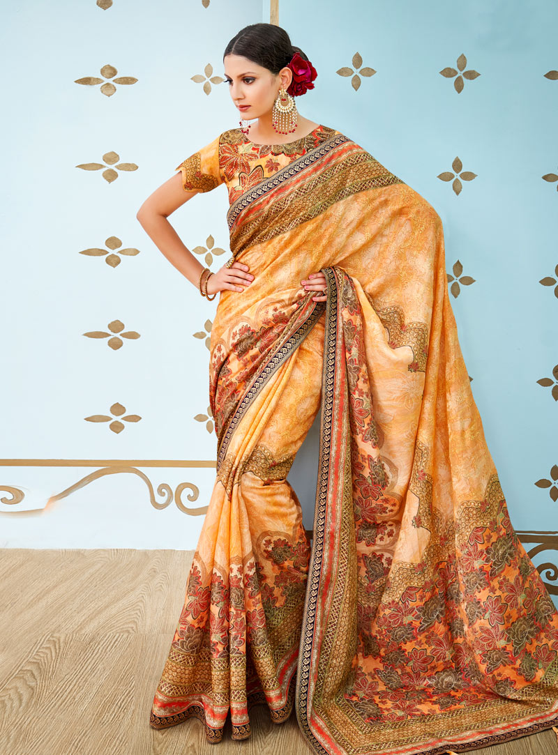Orange Banarasi Silk Festival Wear Saree 144167