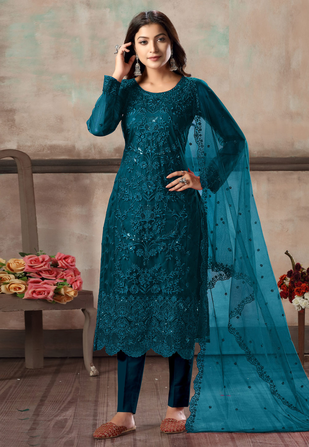 Blue Net Embroidered Kameez With Pant 216565