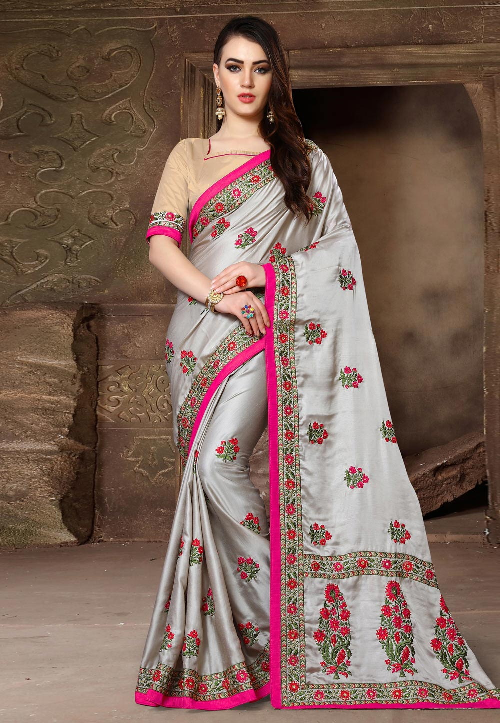 Grey Silk Festival Wear Saree 163128