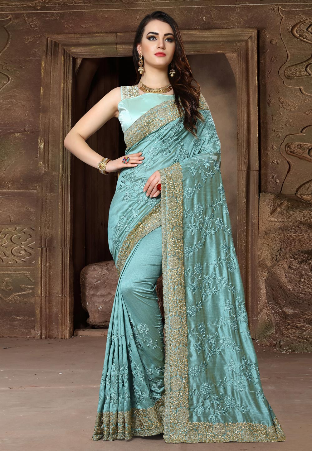 Sea Green Silk Saree With Blouse 163131