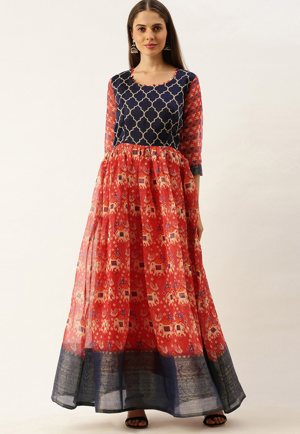 Red Cotton Printed Gown 222884