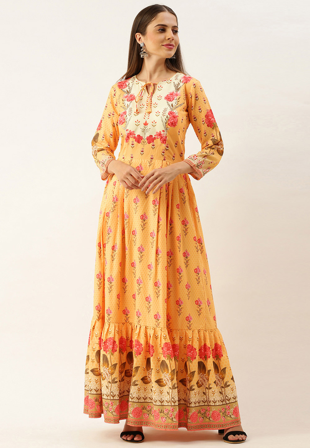 Yellow Muslin Printed Gown 222885