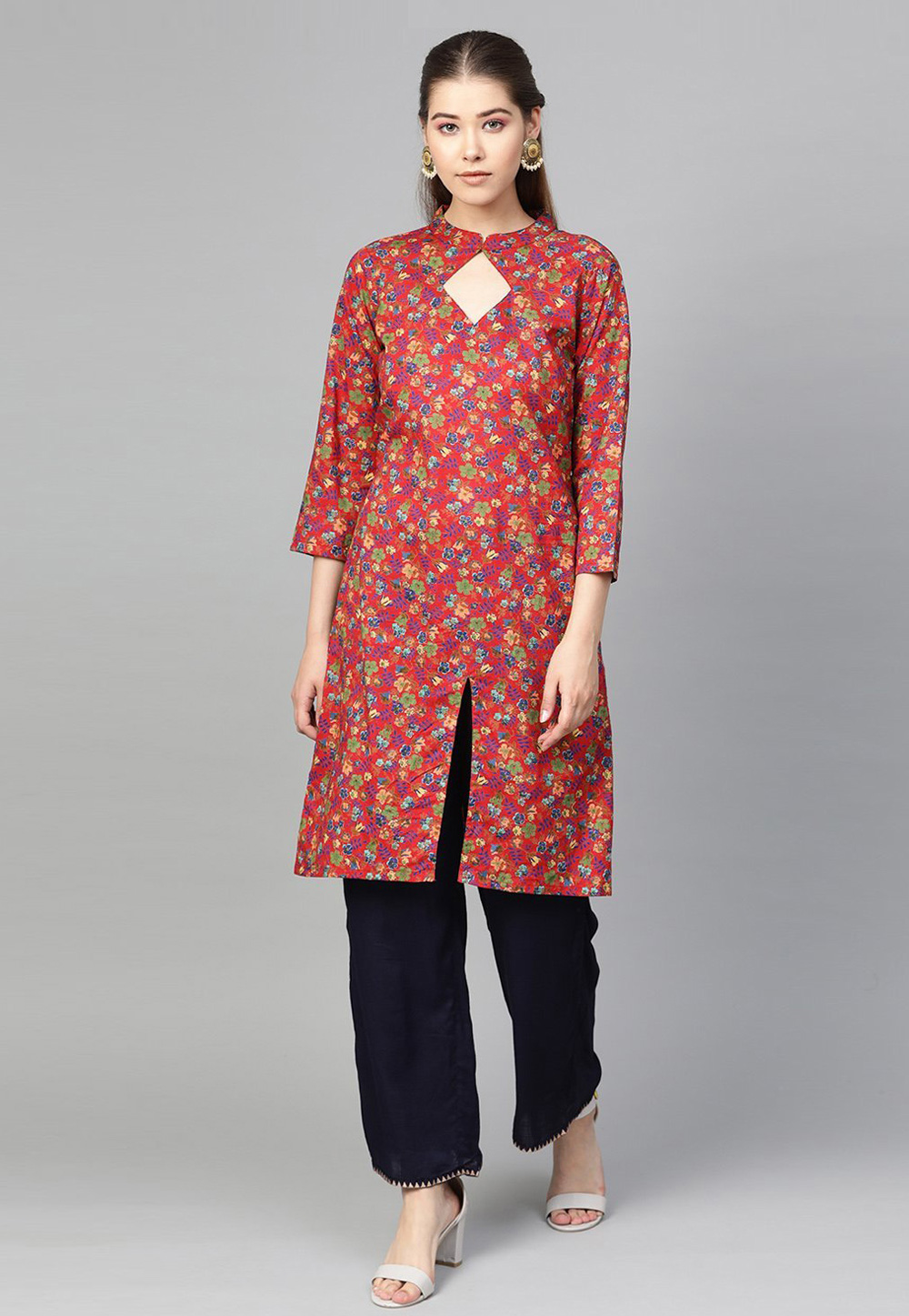 Red Cotton Printed Tunic 218380