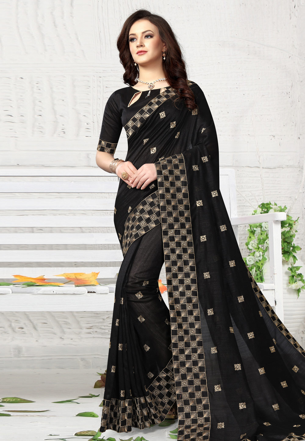 Black Silk Saree With Blouse 164680