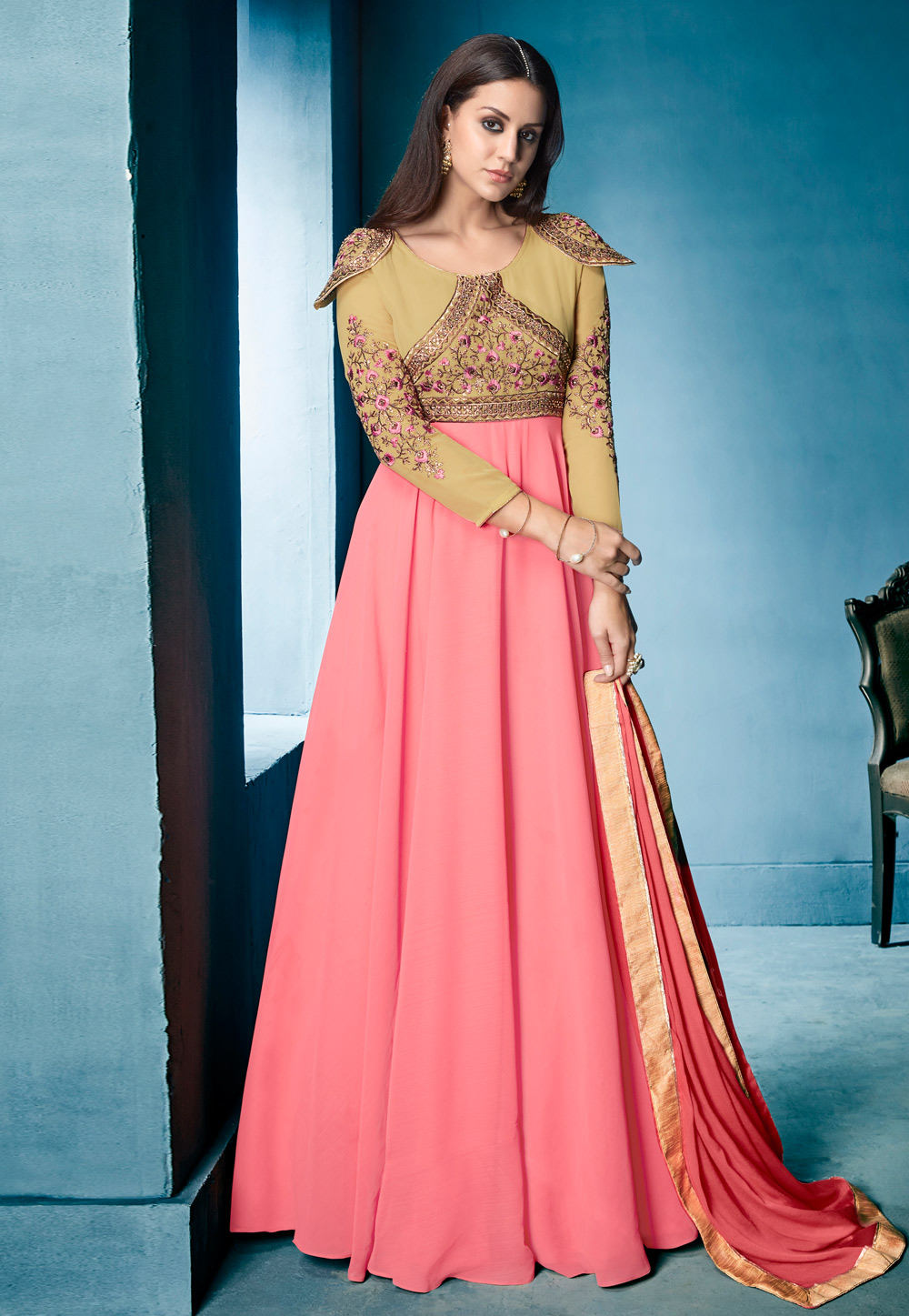 Pink Georgette Readymade Long Anarkali Suit 196083