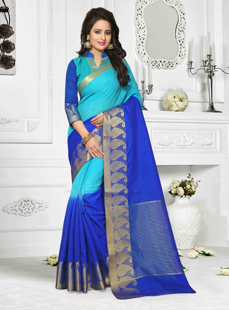 Blue Cotton Saree With Blouse 87884