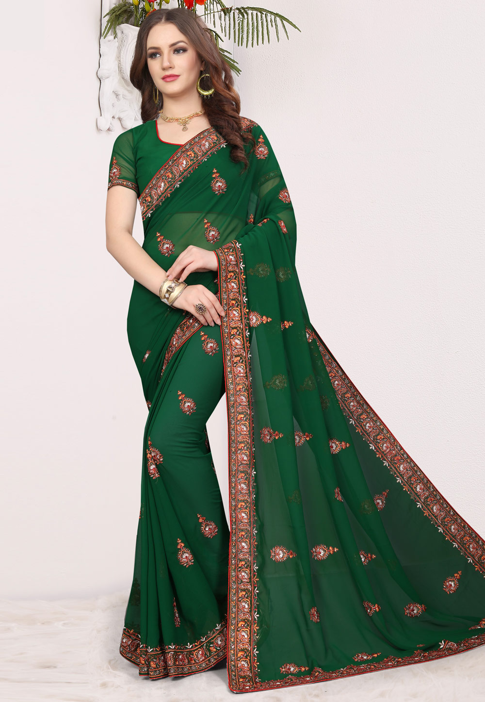 Green Georgette Saree With Blouse 165514