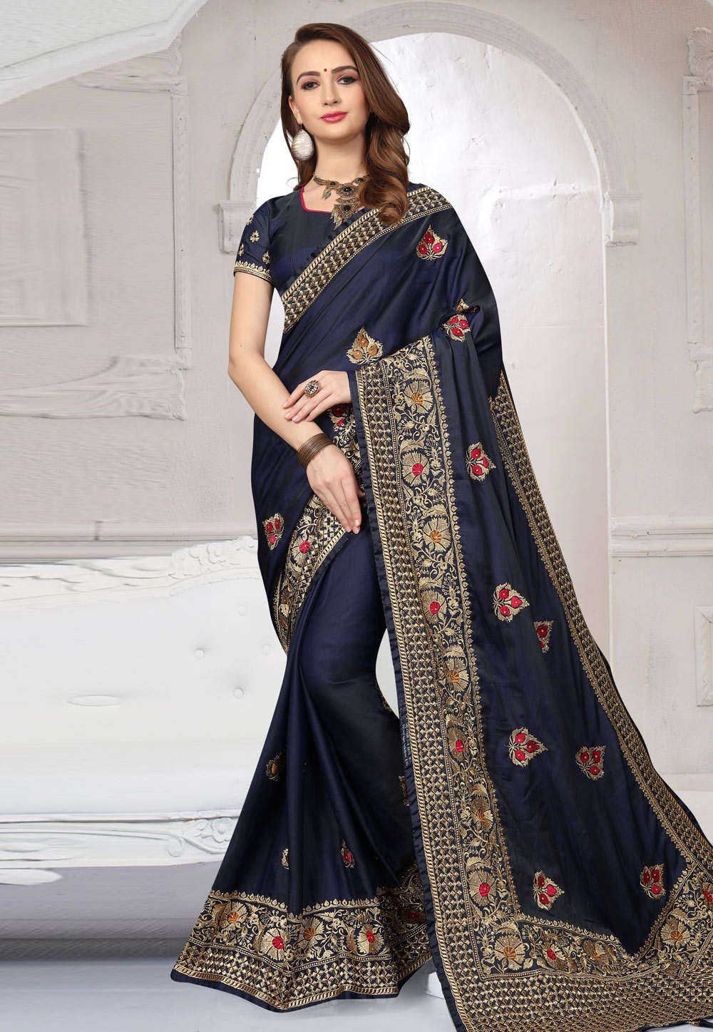 Navy Blue Silk Embroidered Saree With Blouse 166360