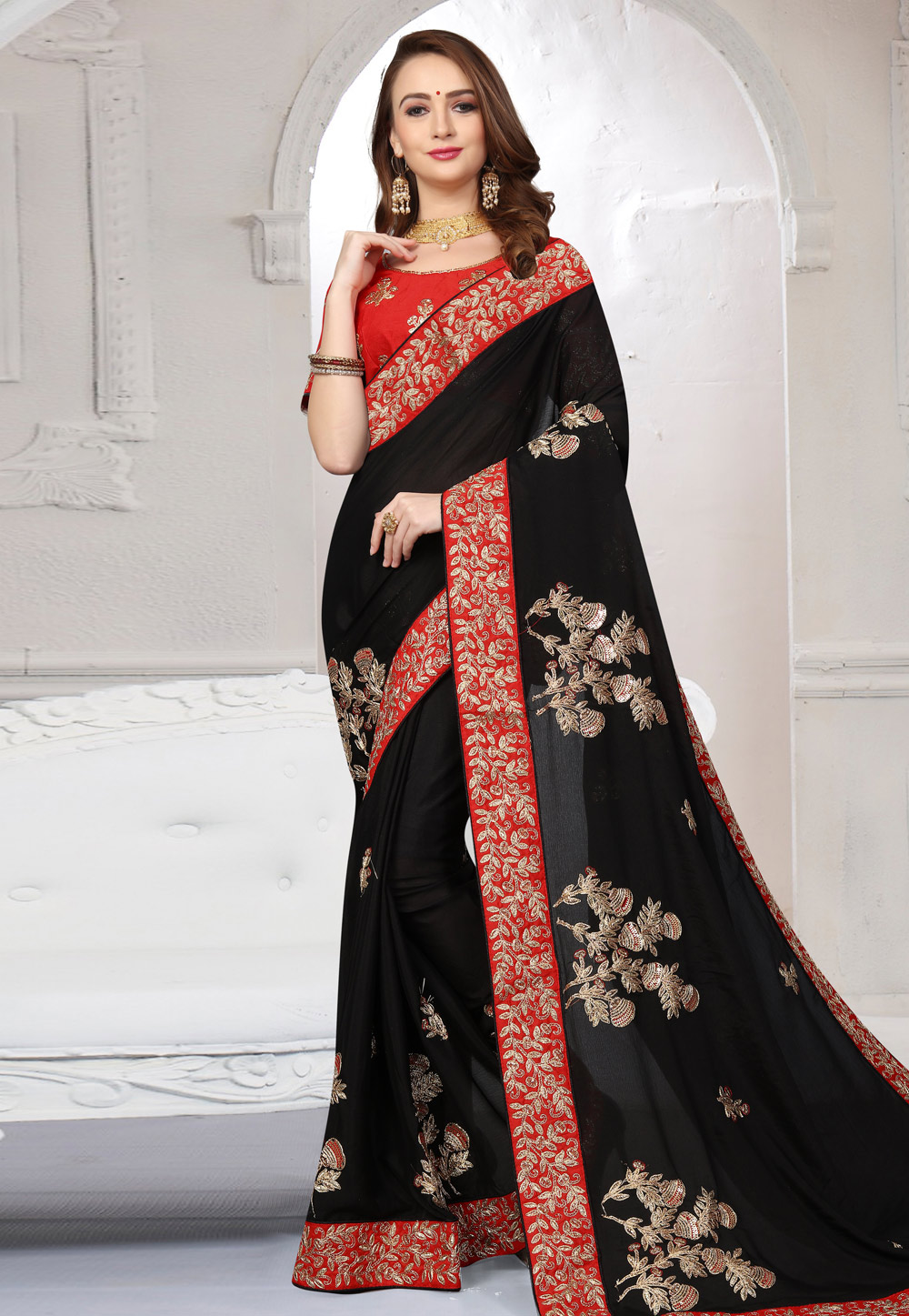 Black Satin Embroidered Saree With Blouse 166363