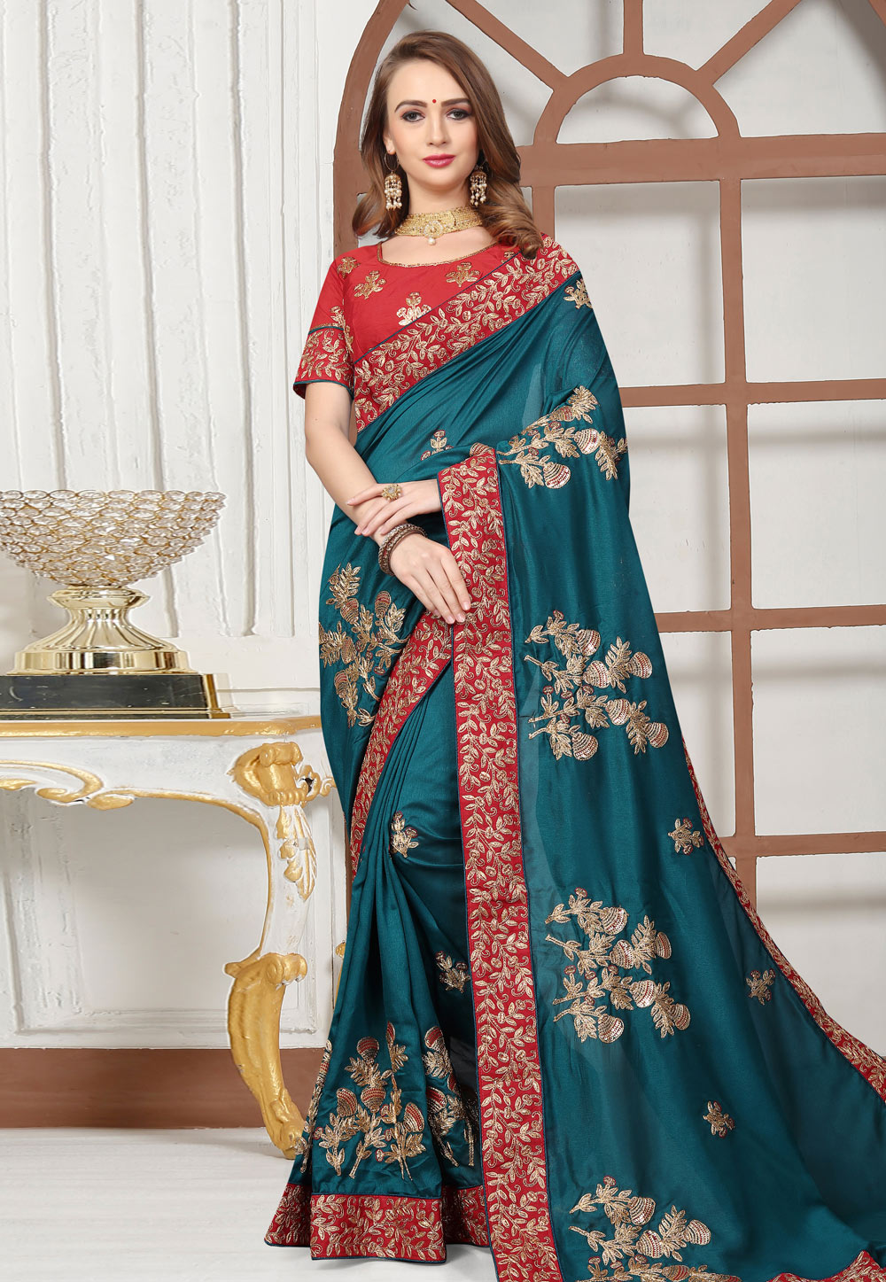 Teal Blue Satin Embroidered Festival Wear Saree 166364