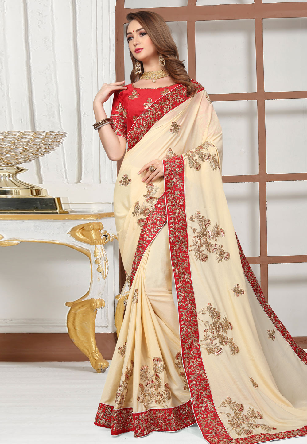 Cream Satin Embroidered Saree With Blouse 166365