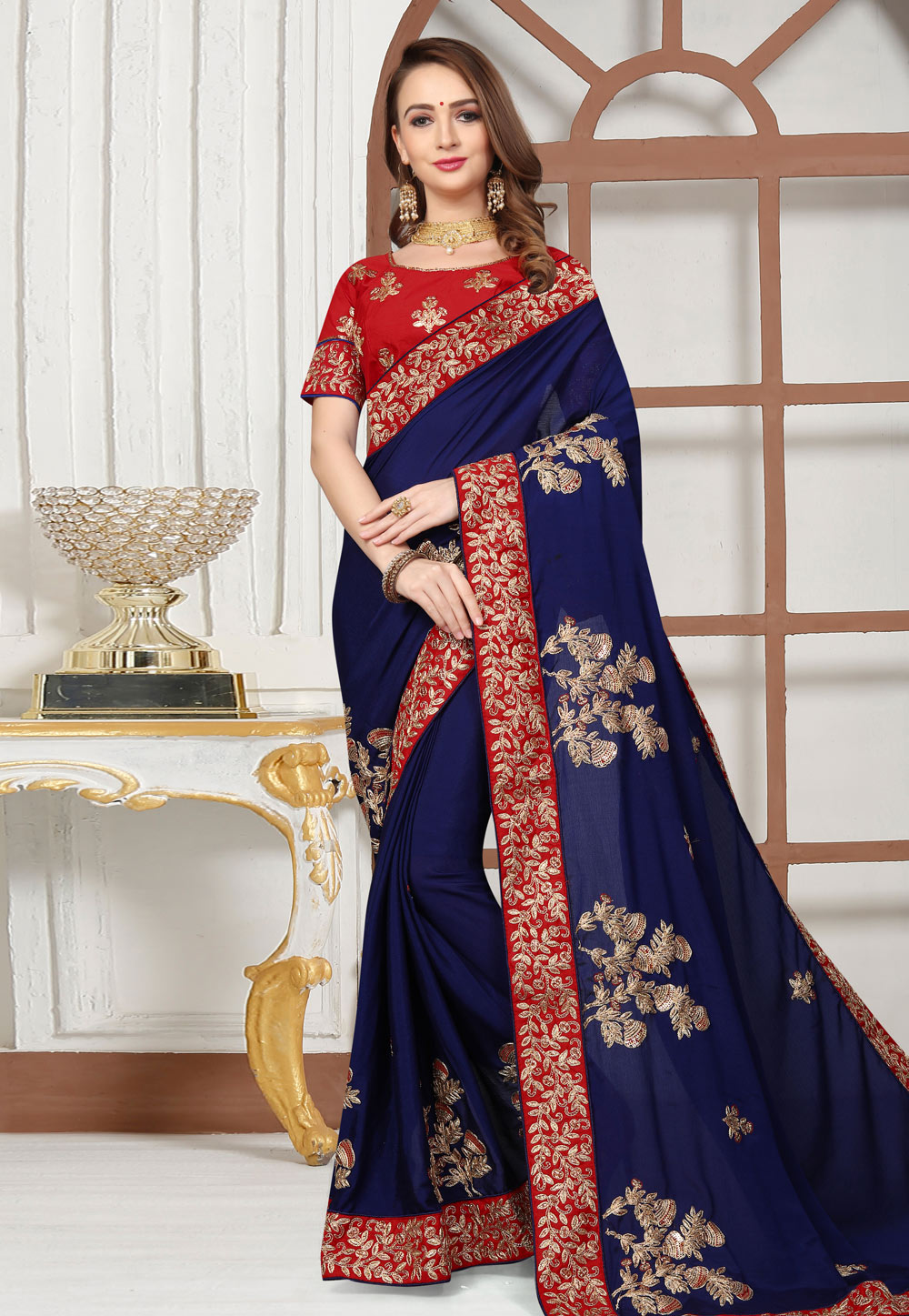 Navy Blue Satin Embroidered Festival Wear Saree 166366