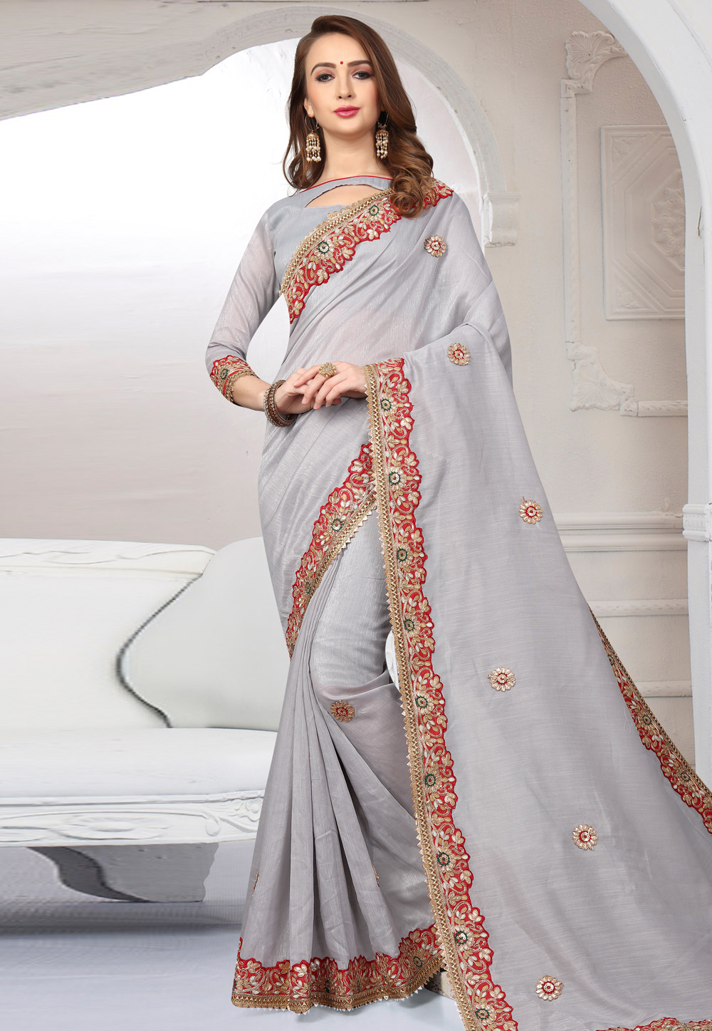 Grey Cotton Saree With Blouse 167245