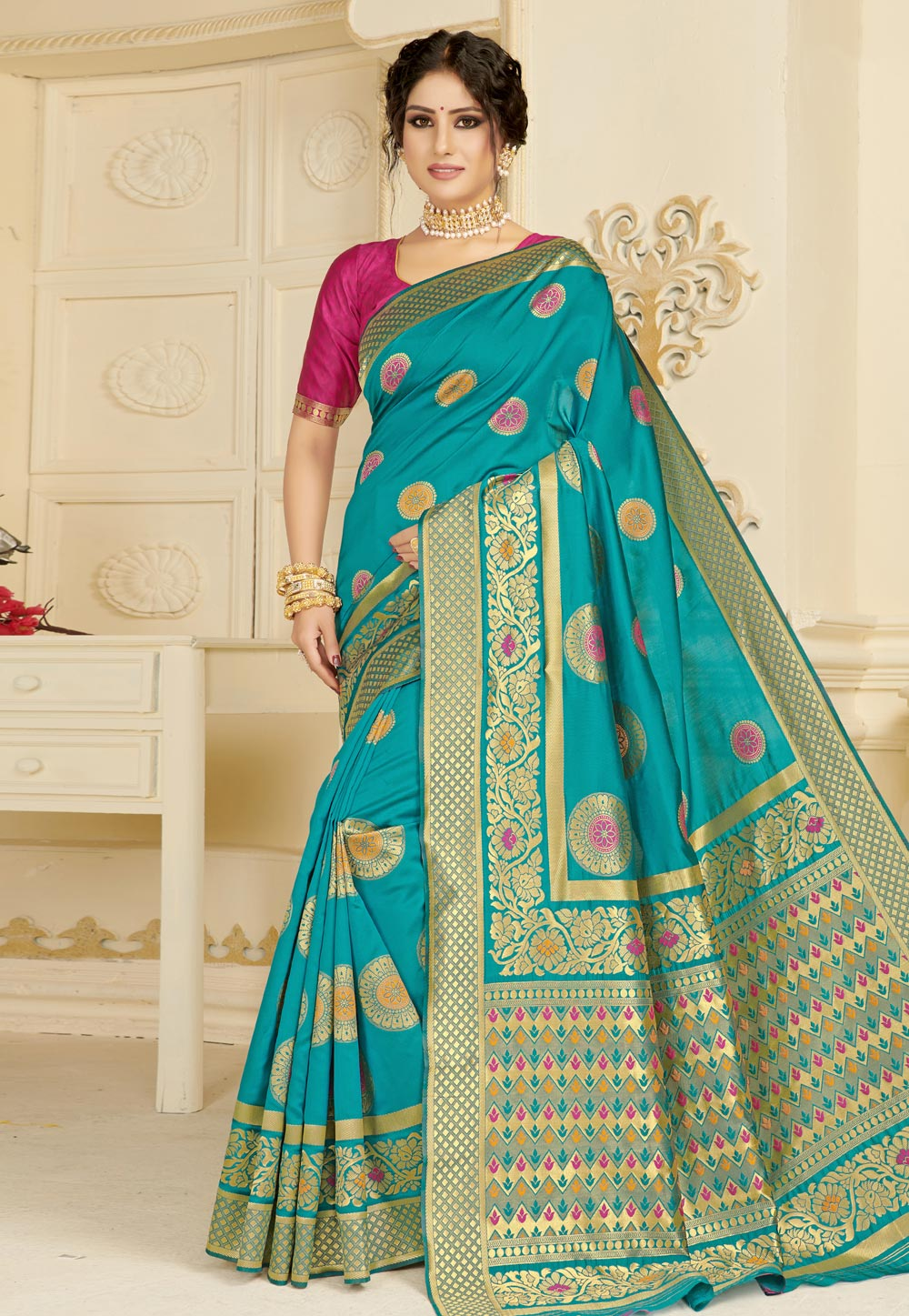 Turquoise Silk Festival Wear Saree 183269
