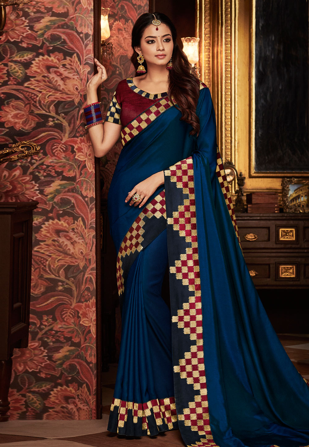 Blue Silk Embroidered Saree With Blouse 160209