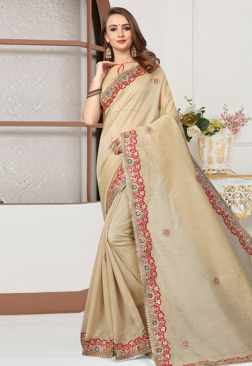 Beige Cotton Saree With Blouse 167247