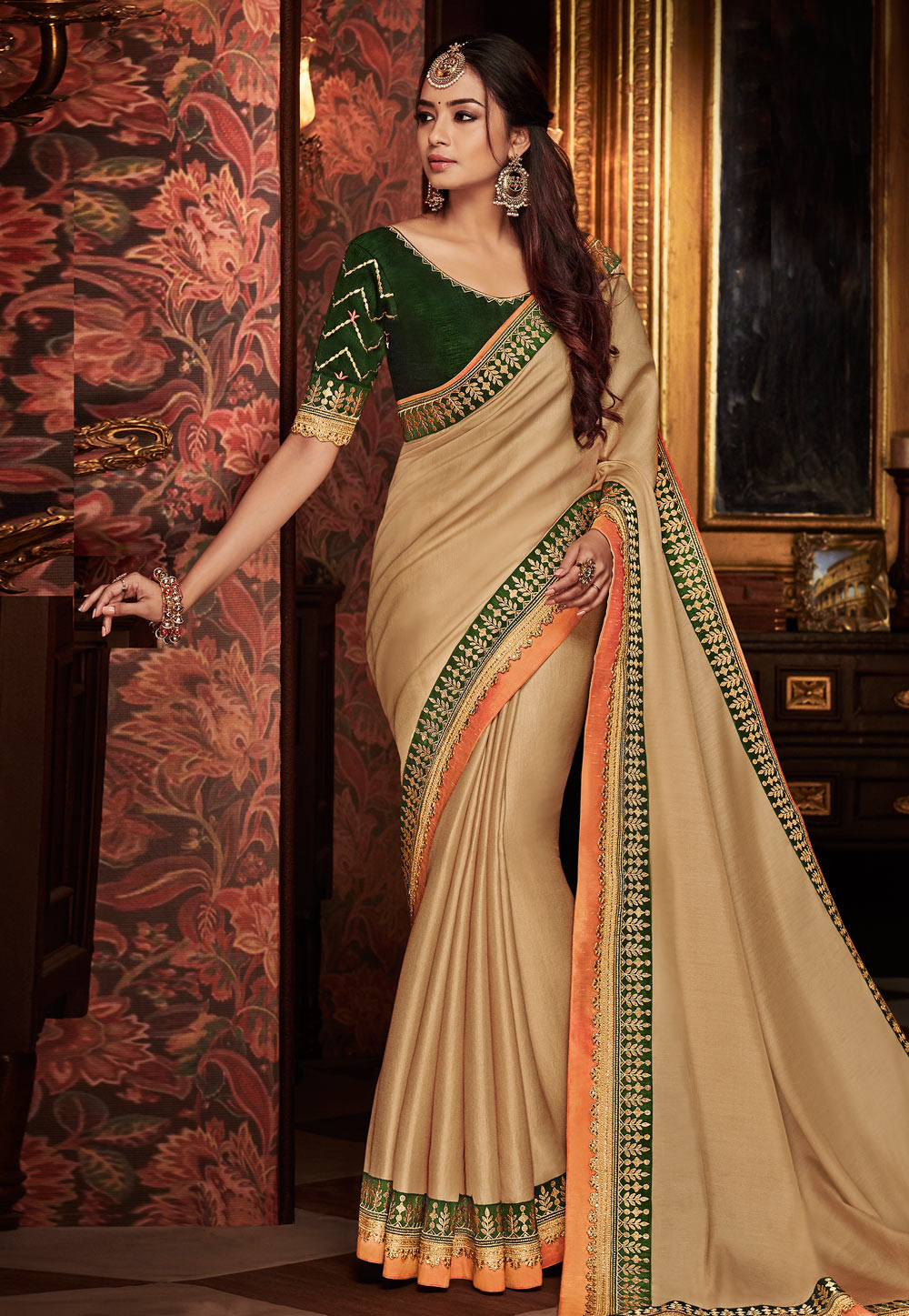 Beige Satin Festival Wear Saree 160210