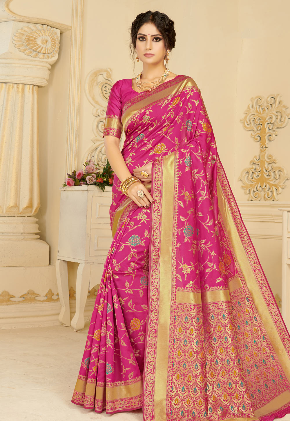 Pink Silk Saree With Blouse 183272