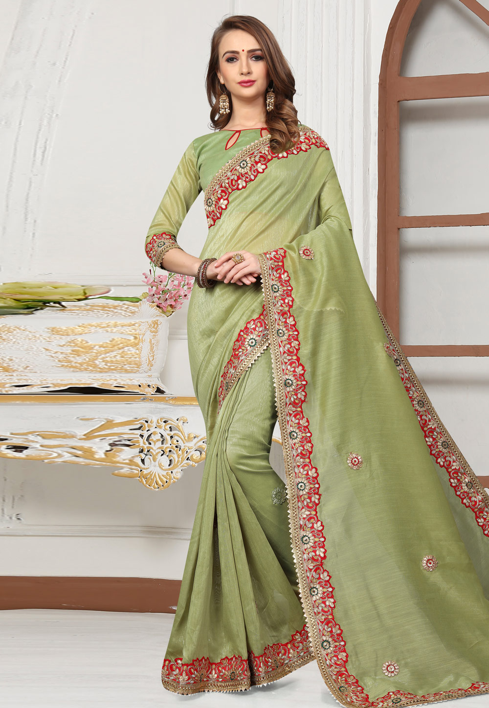 Green Cotton Saree With Blouse 167249