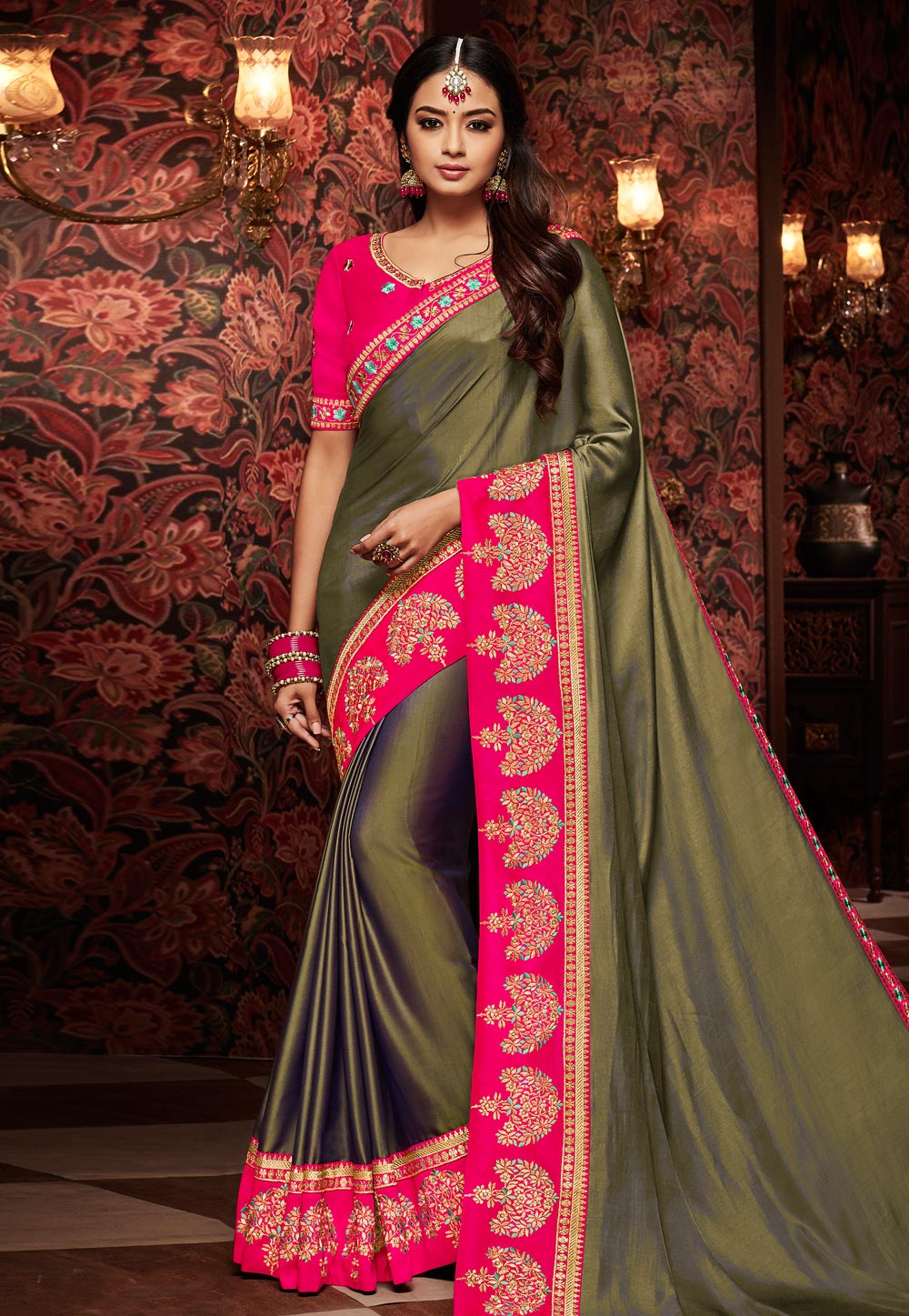 Olive Green Silk Saree With Blouse 160215