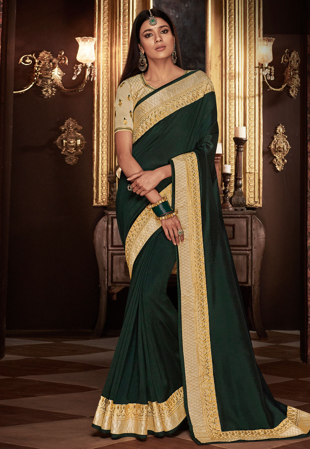 Green Silk Embroidered Saree With Blouse 160216