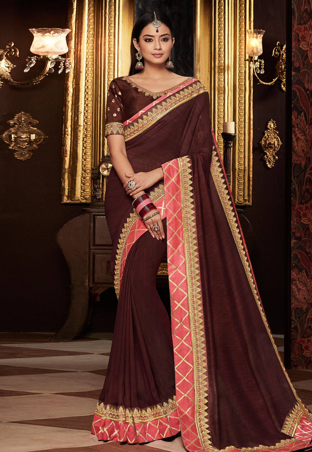 Wine Silk Embroidered Saree With Blouse 160222