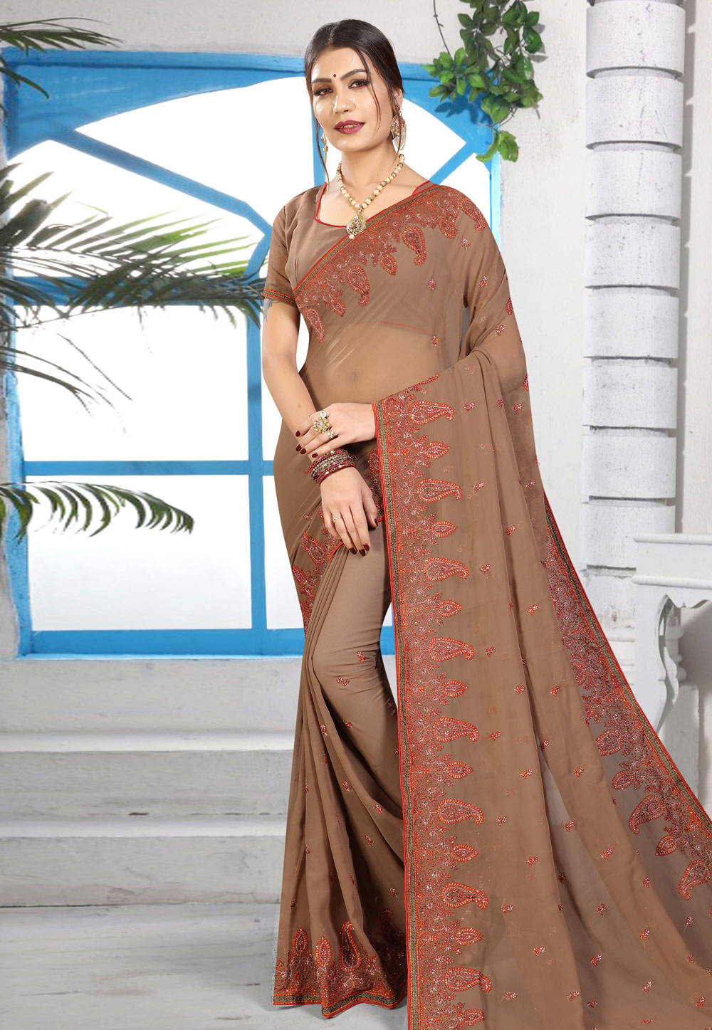 Brown Georgette Saree With Blouse 169951