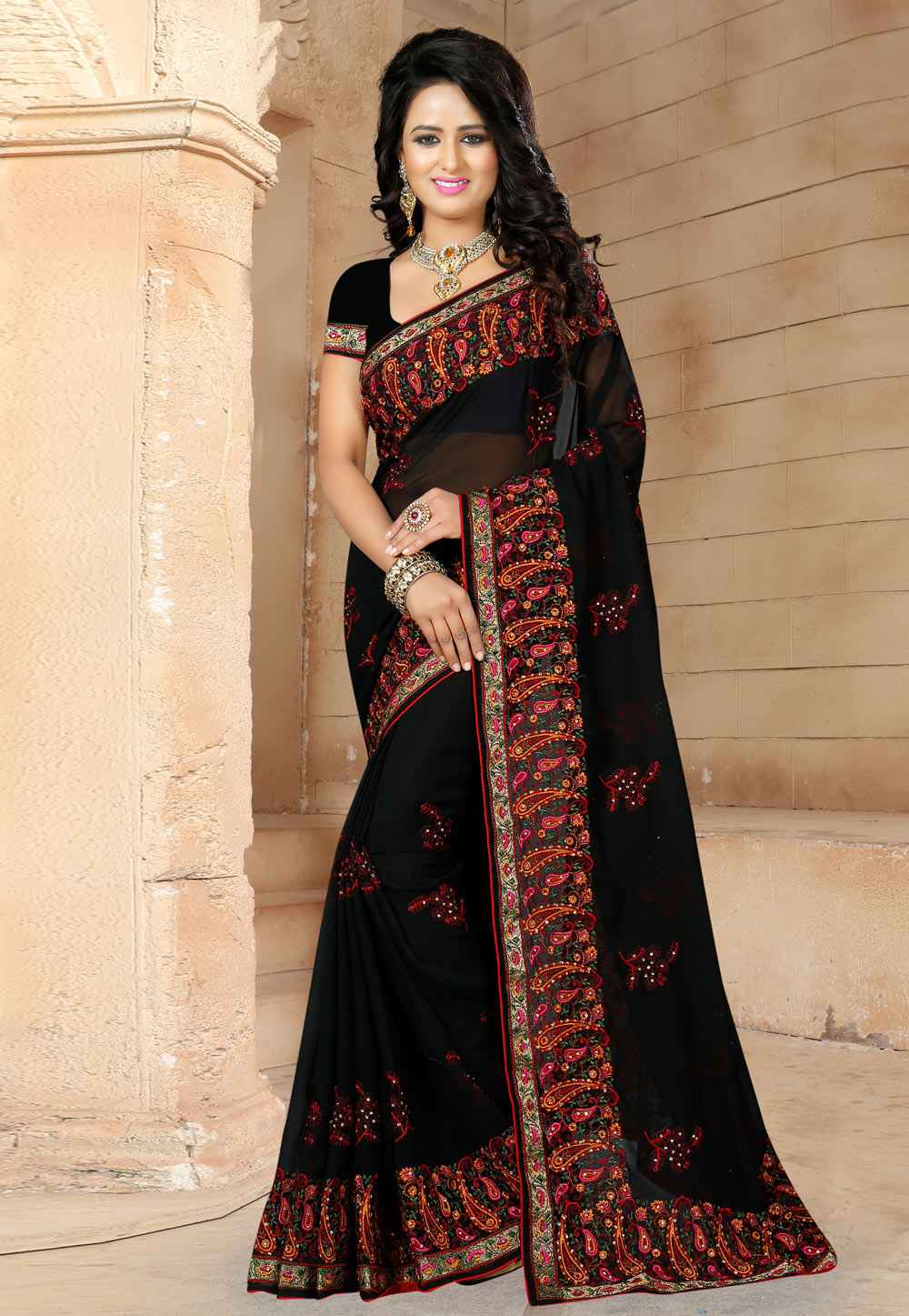 Black Georgette Saree With Blouse 171510