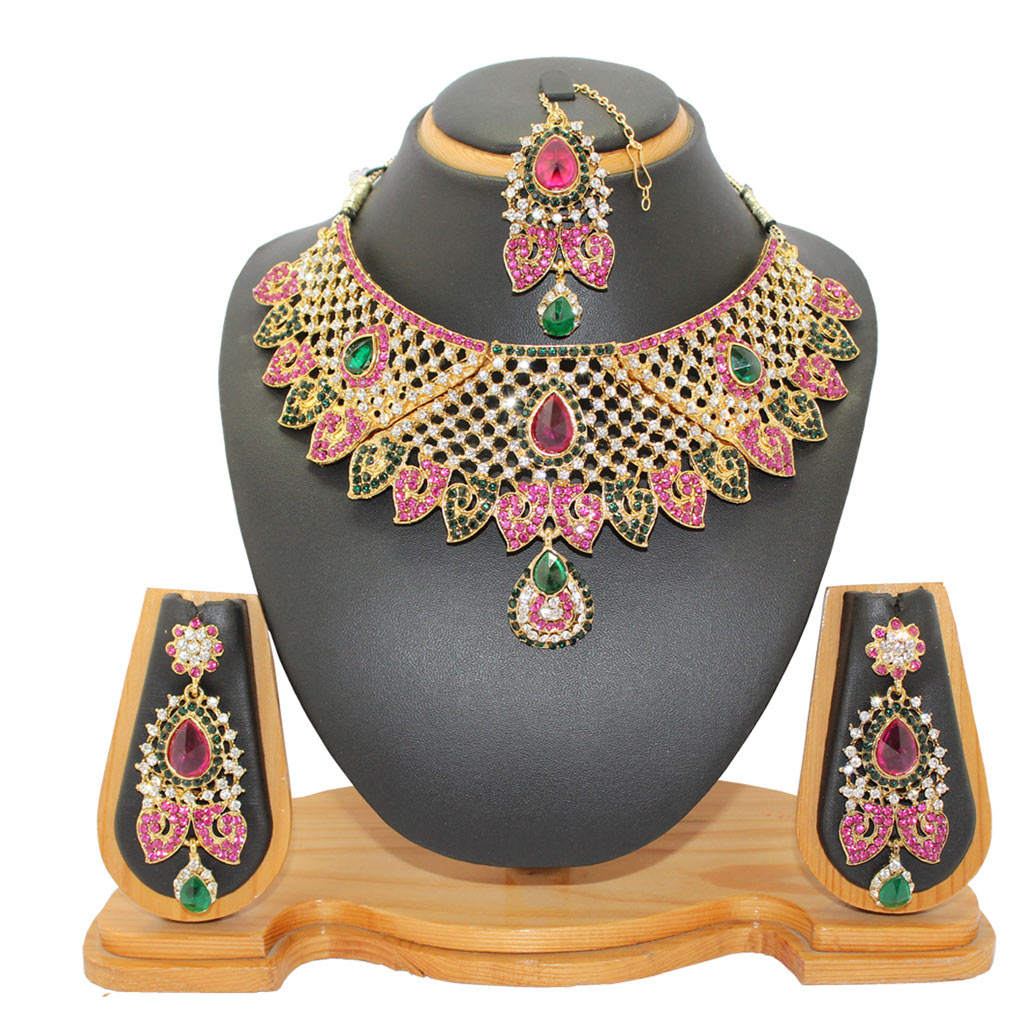 Pink Zinc Austrian Diamonds Necklace With Earrings and Maang Tikka 64347
