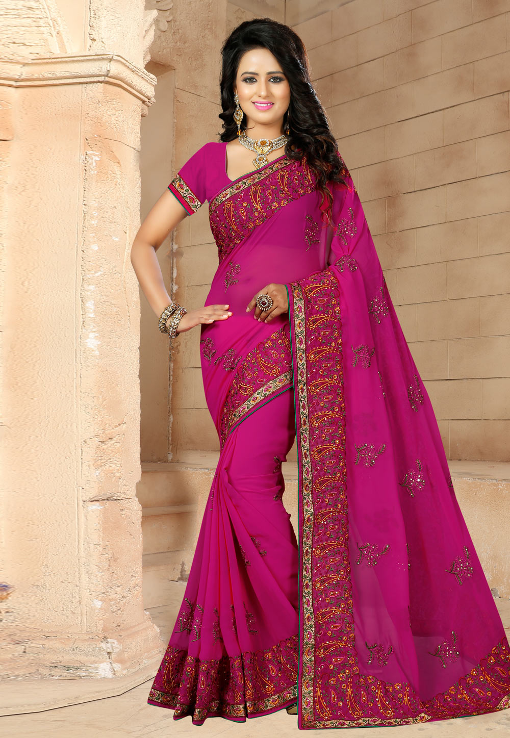 Magenta Georgette Saree With Blouse 171512