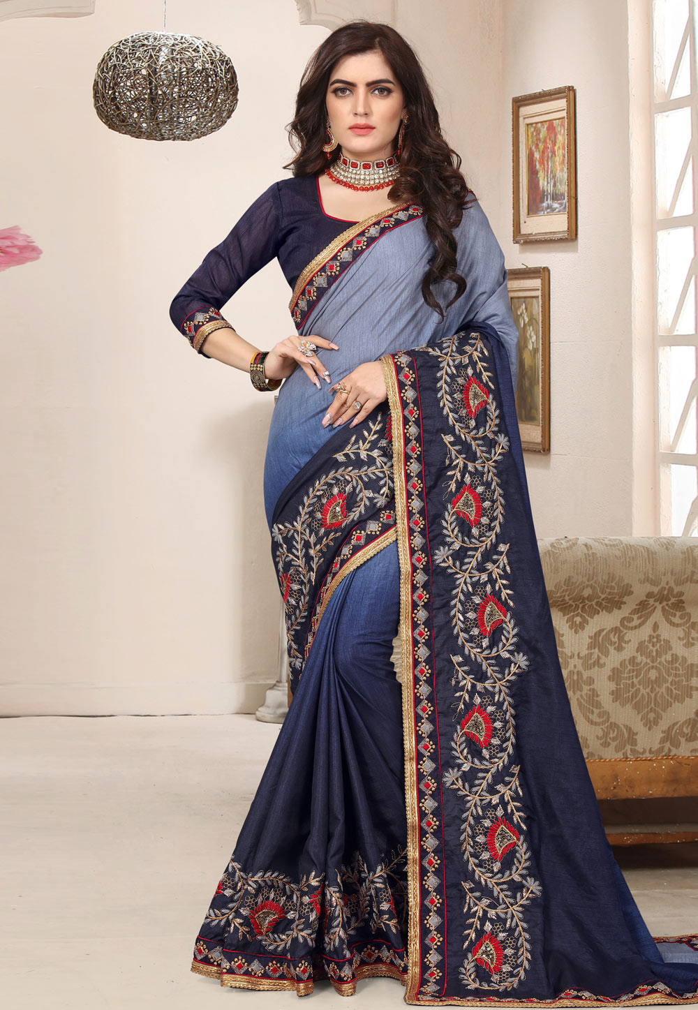 Blue Silk Saree With Blouse 171824