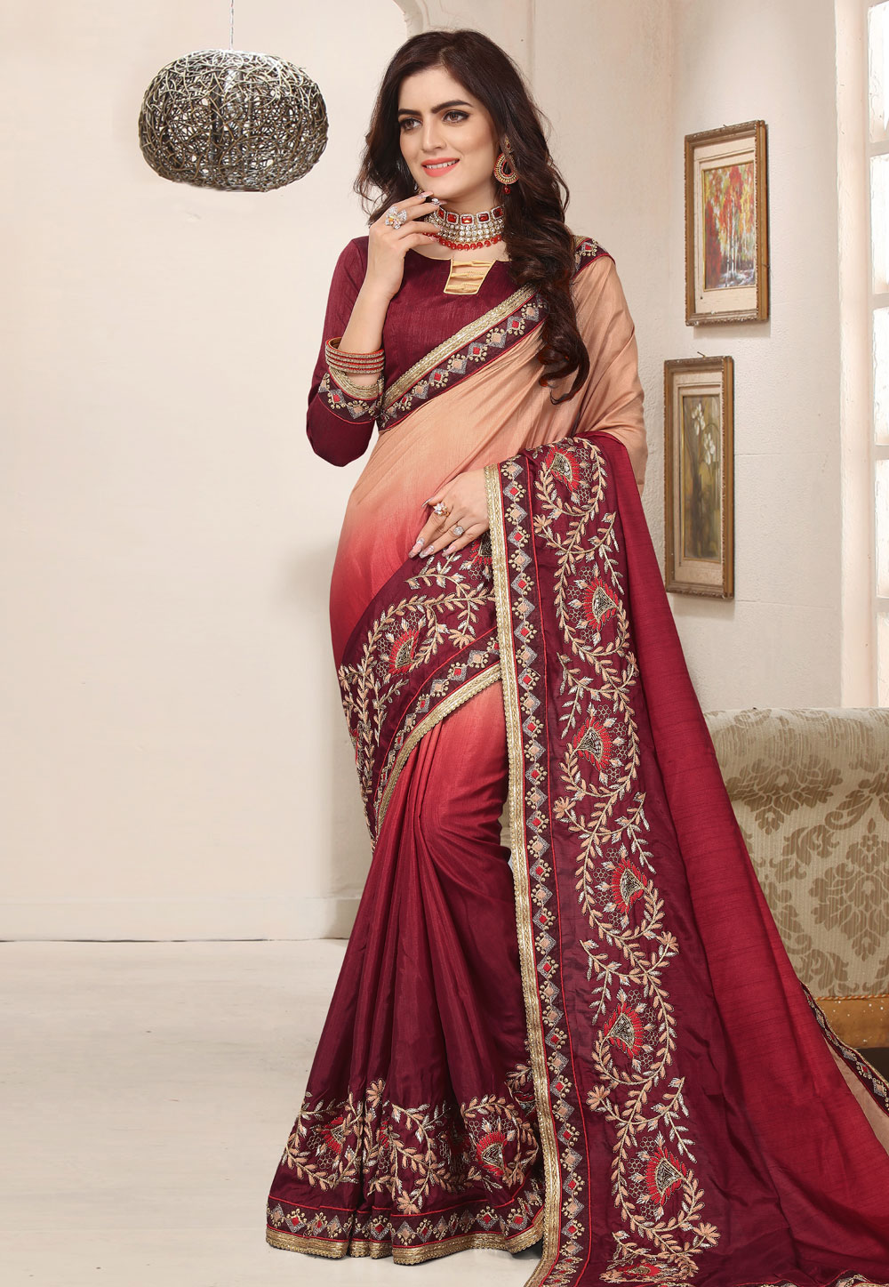 Maroon Silk Festival Wear Saree 171827