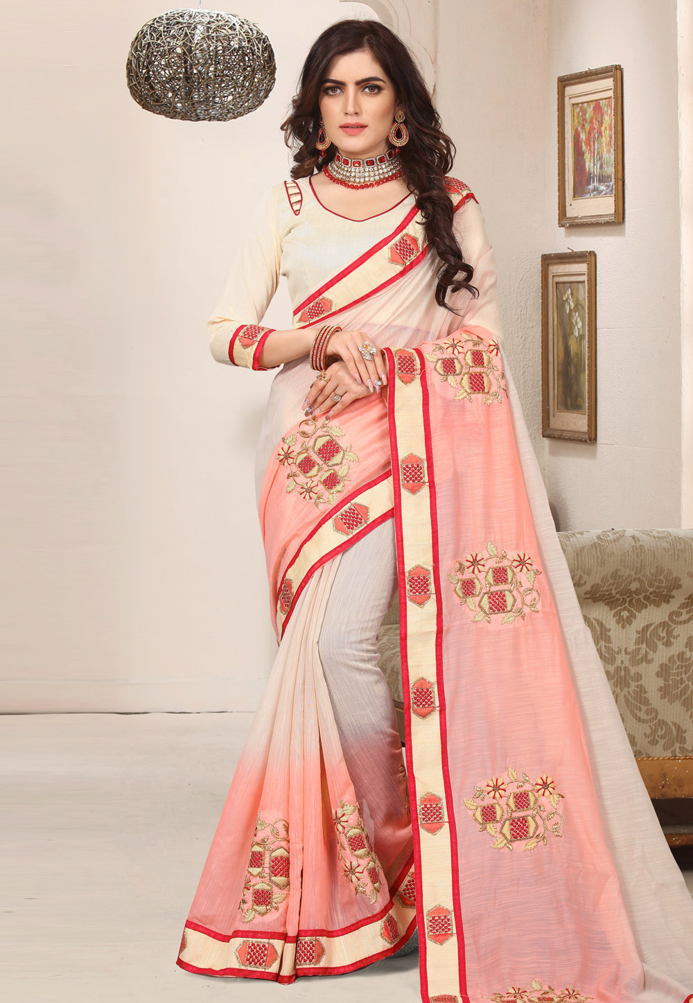Beige Cotton Saree With Blouse 171830
