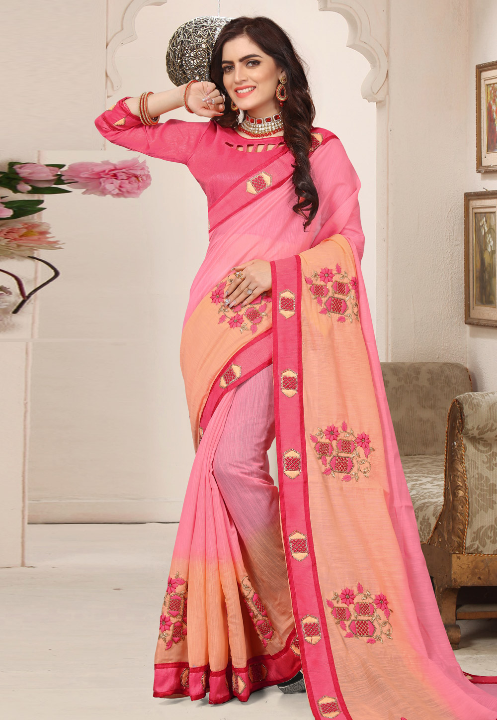 Pink Cotton Festival Wear Saree 171831