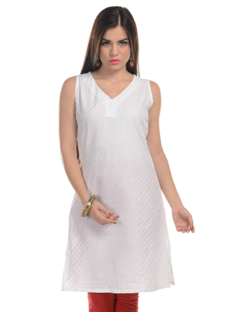 Off White Cotton Readymade Kurti 104985