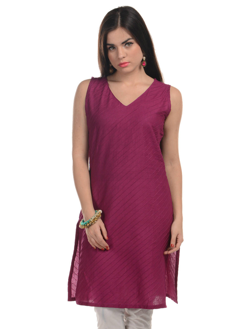 Purple Cotton Readymade Kurti 104990