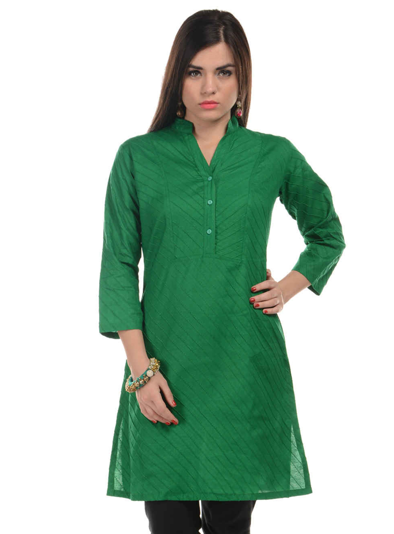 Green Cotton Readymade Kurti 104998
