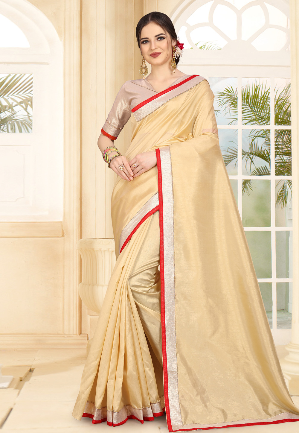 Beige Art Silk Saree With Blouse 179306