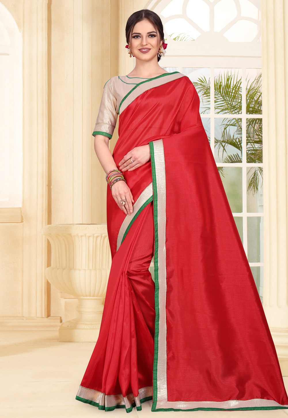 Red Art Silk Saree With Blouse 179310