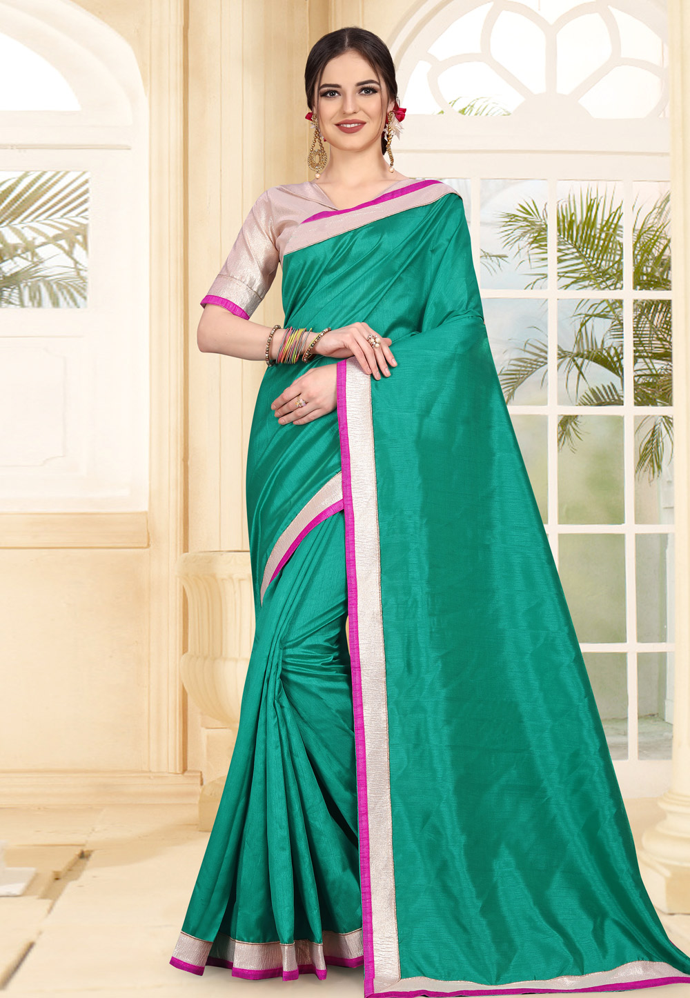Sea Green Art Silk Festival Wear Saree 179313