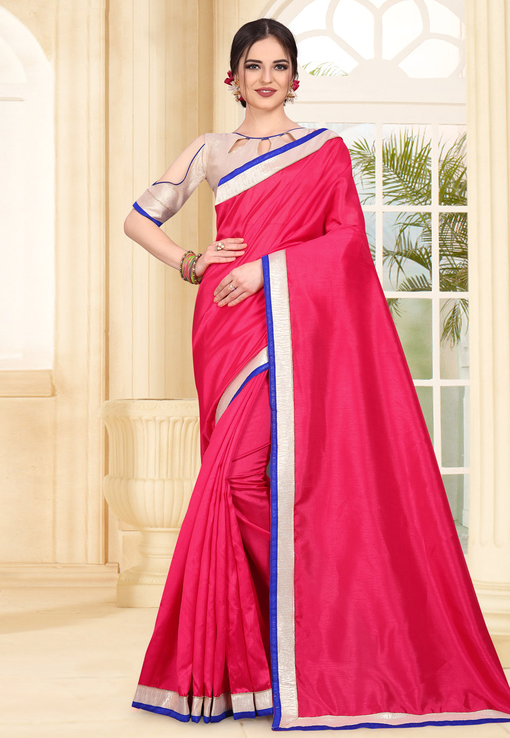 Magenta Art Silk Festival Wear Saree 179315
