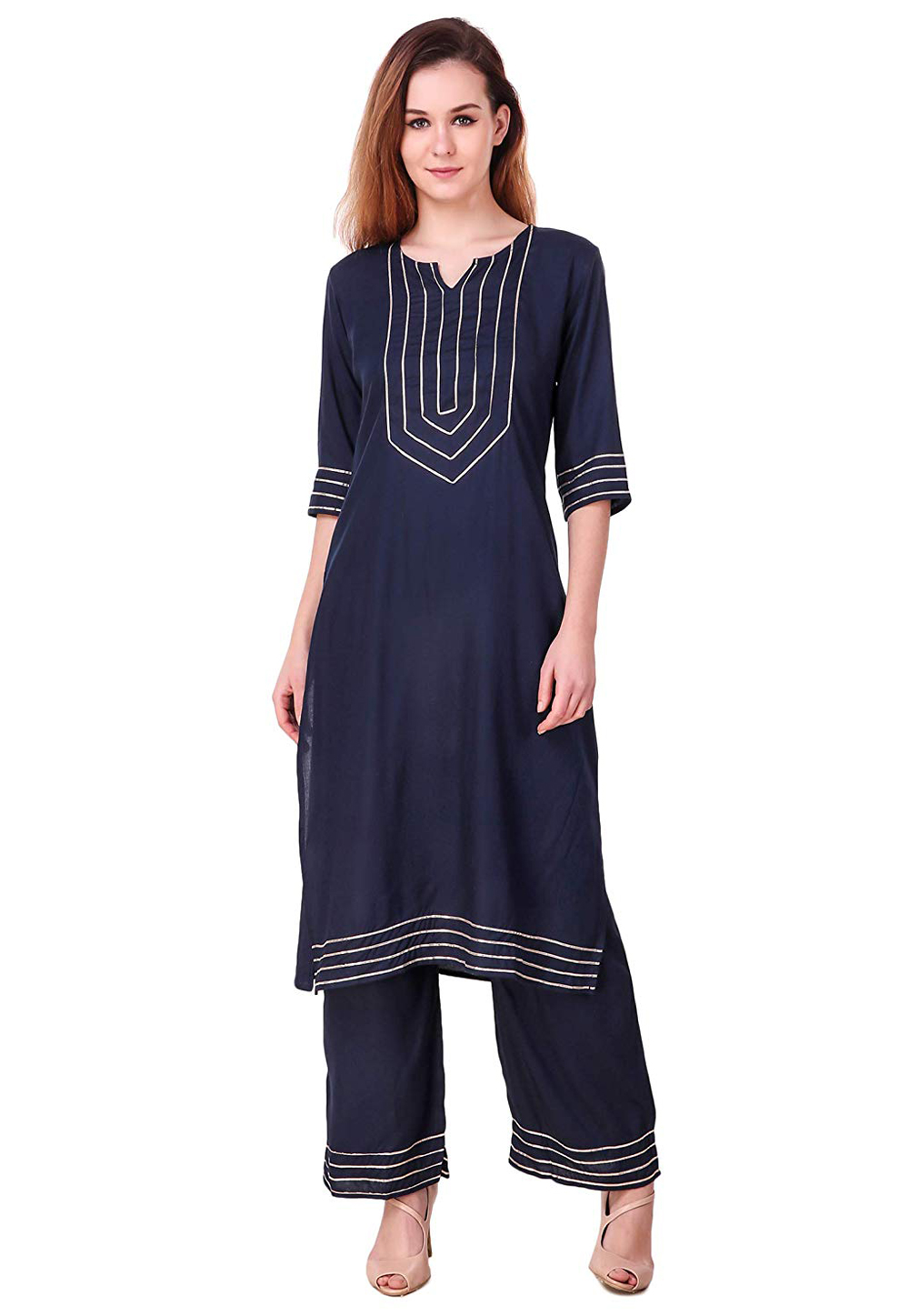 Navy Blue Rayon Readymade Palazzo Suit 176655